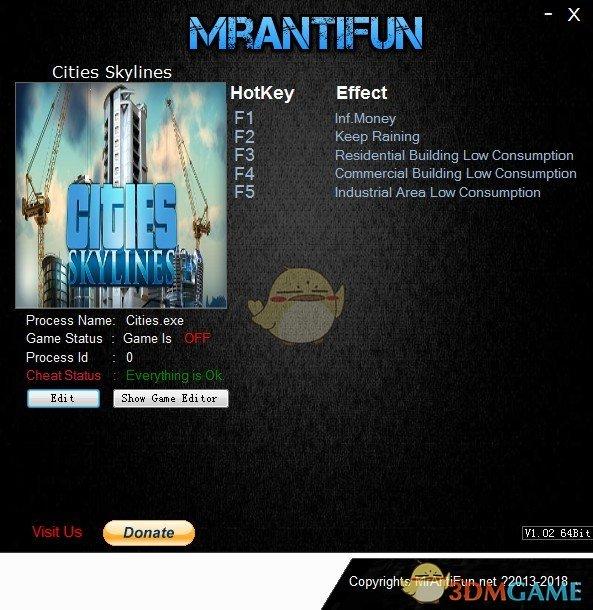 《城市:天际线》v1.11.0五项修改器[MrAntiFun]