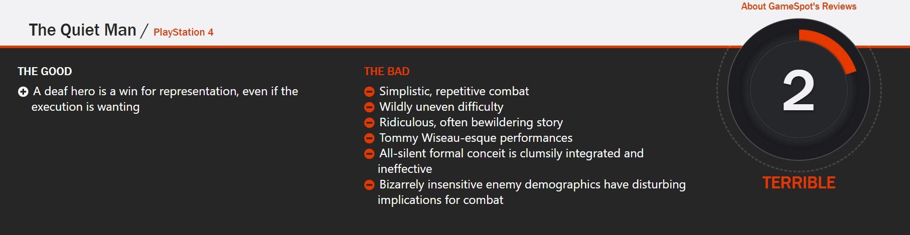 SE新IP《沉默之人》扑街:Game Spot 2分 IGN 5.5分