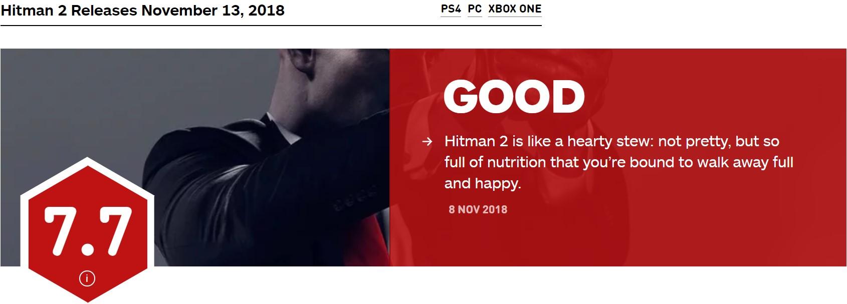 《杀手2》IGN 7.7分 更像是1.5而非完整续作