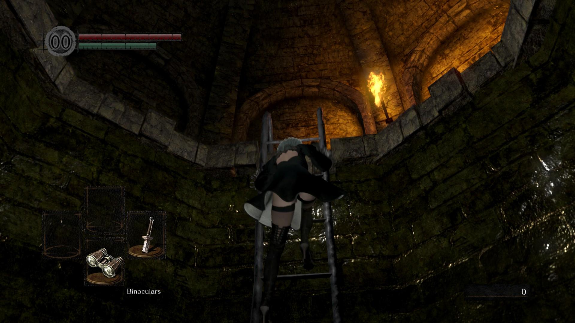 《黑暗之魂:重制版》2B小姐姐MOD 爬楼梯露春光