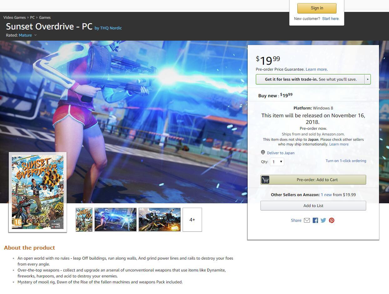 发行日期曝光 亚马逊出现《日落过载》PC版产品页面