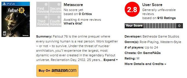 B社的诚意?众评网站仅给《辐射76》打出2.8分