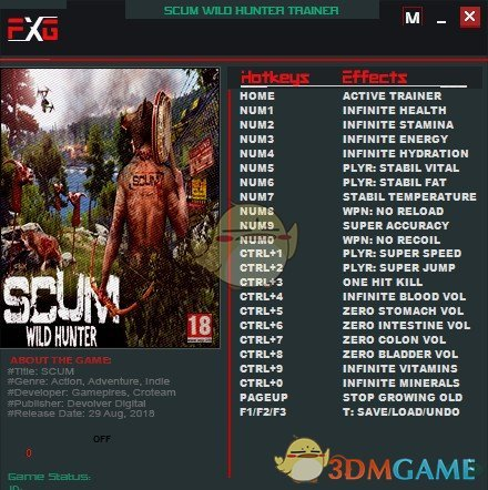 《人渣SCUM》v0.1.19.1005二十二项修改器[FutureX]