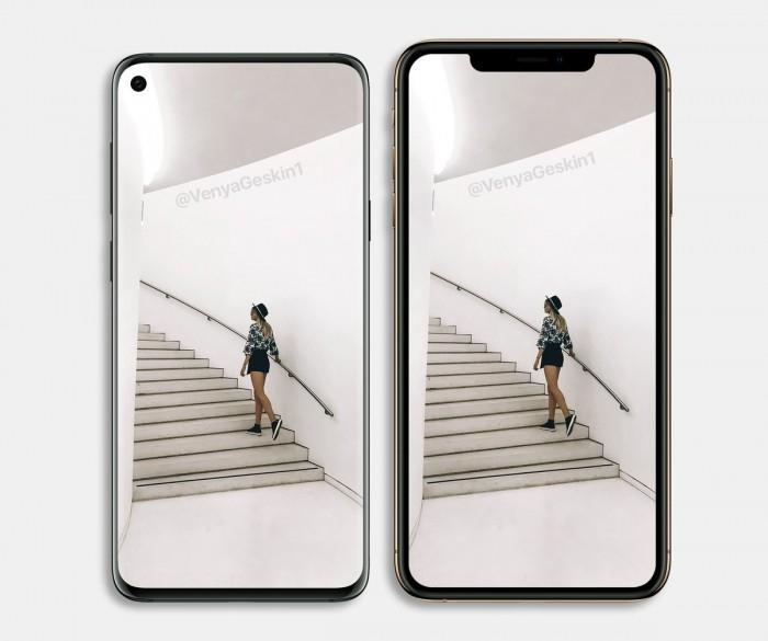三星S10外形渲染图:打孔全面屏 对比iPhoneXS谁好看