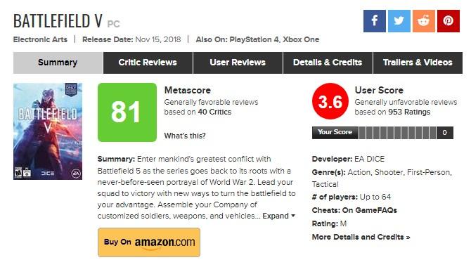 毁誉参半 《战地5》玩家评分呈现剧烈两极分化