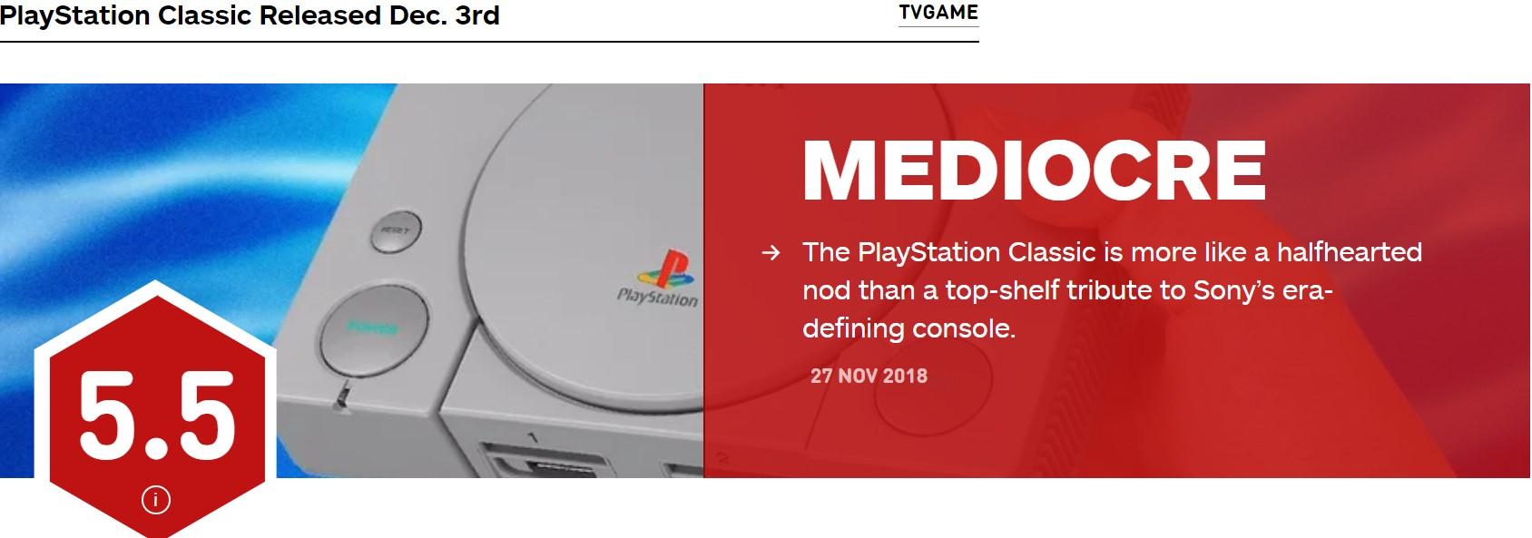 索尼迷你PS主机IGN 5.5分 装饰价值高于游戏价值