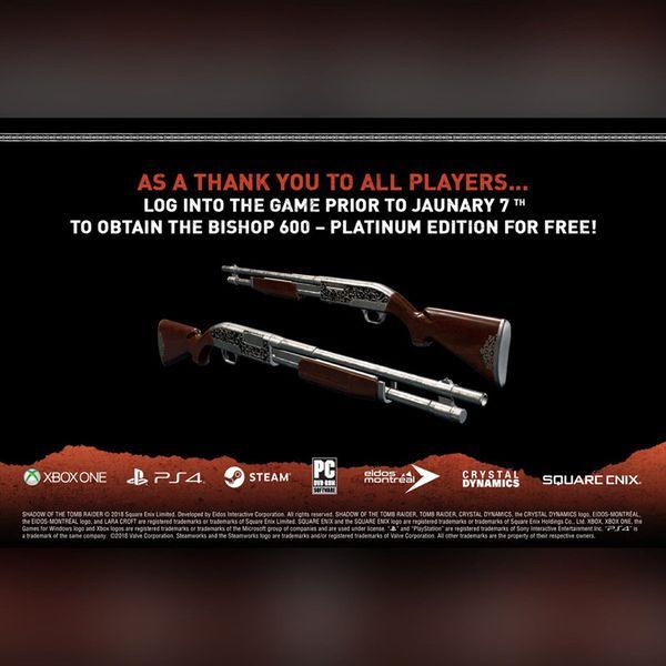 《古墓丽影:暗影》玩家数据公开 独特武器免费赠送