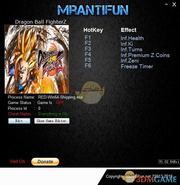 《龙珠战士Z》v1.11六项修改器[MrAntiFun]