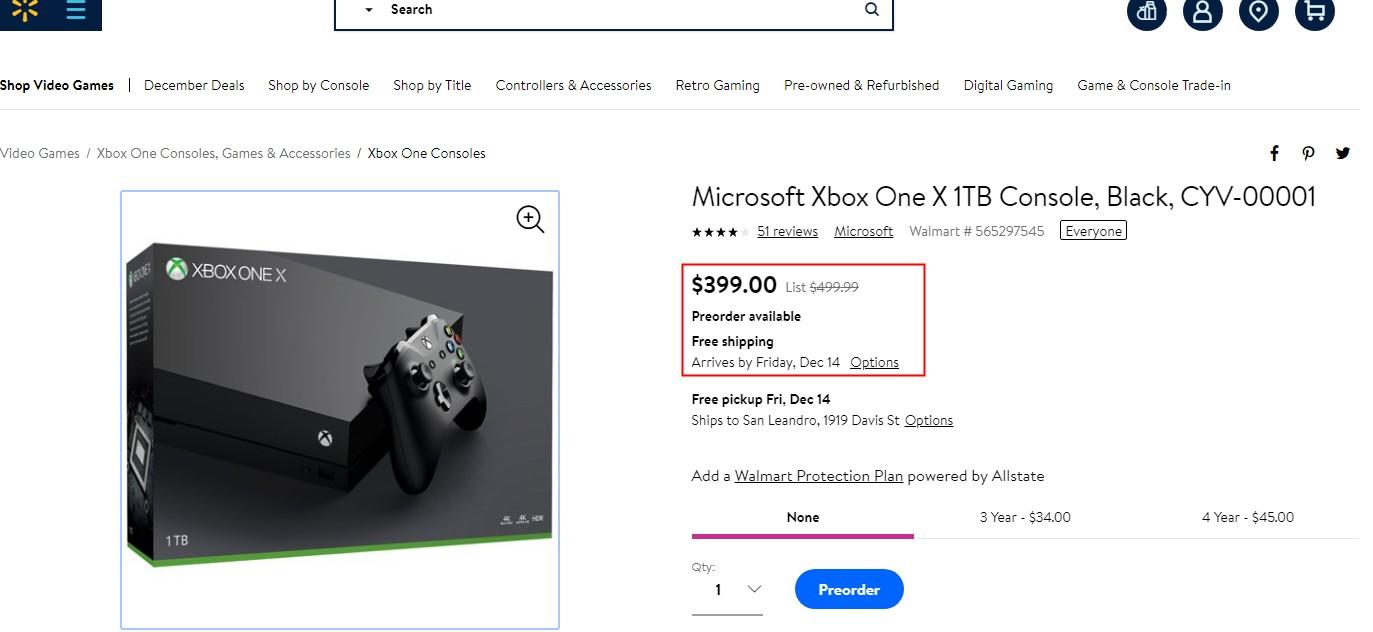 真相警告!Xbox One X美三大电商全部直降100美元