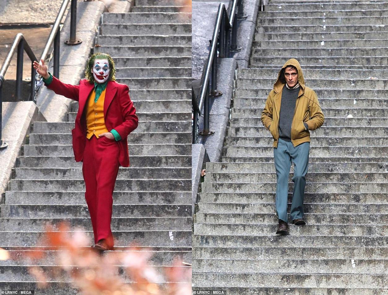 DC电影《小丑》杀青曝新片场照 红衣绿发站在街头亮眼