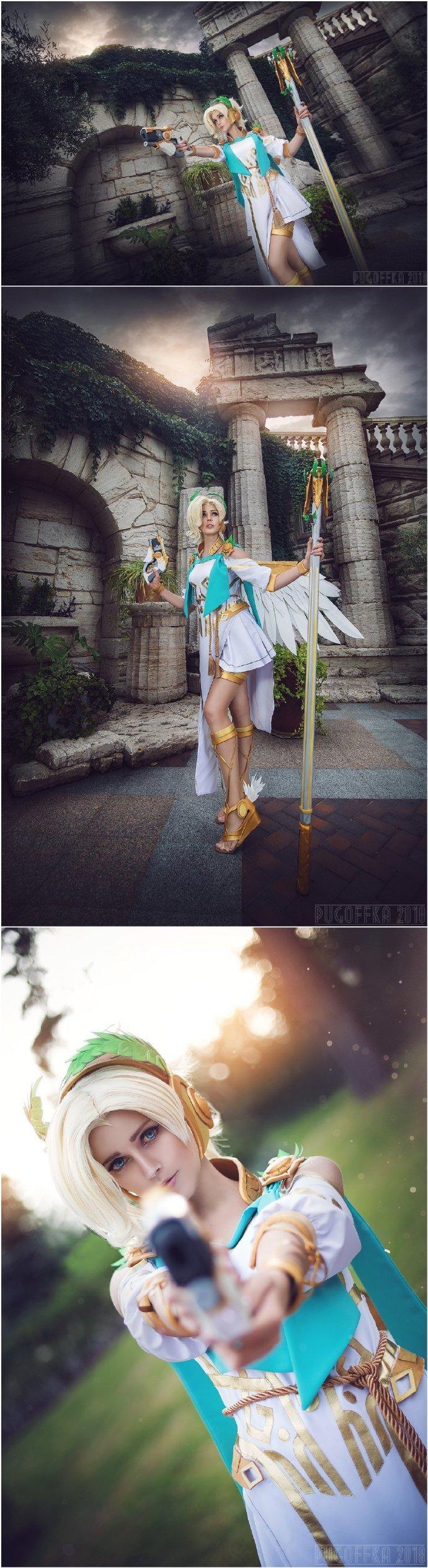 国外美女COS《守望先锋》胜利女神天使 大长腿吸睛
