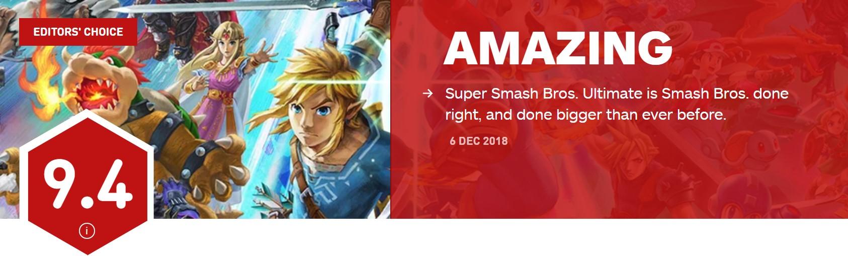 《任天堂明星大乱斗特别版》首批评分出炉 IGN 9.4分
