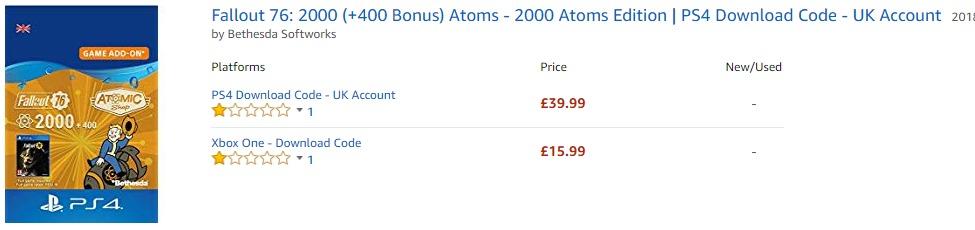 B社的错?《辐射76》PS4版原子币价格比X1版高出2.5倍