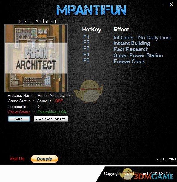 《监狱建筑师》v4f六项修改器[MrAntiFun][32bit]