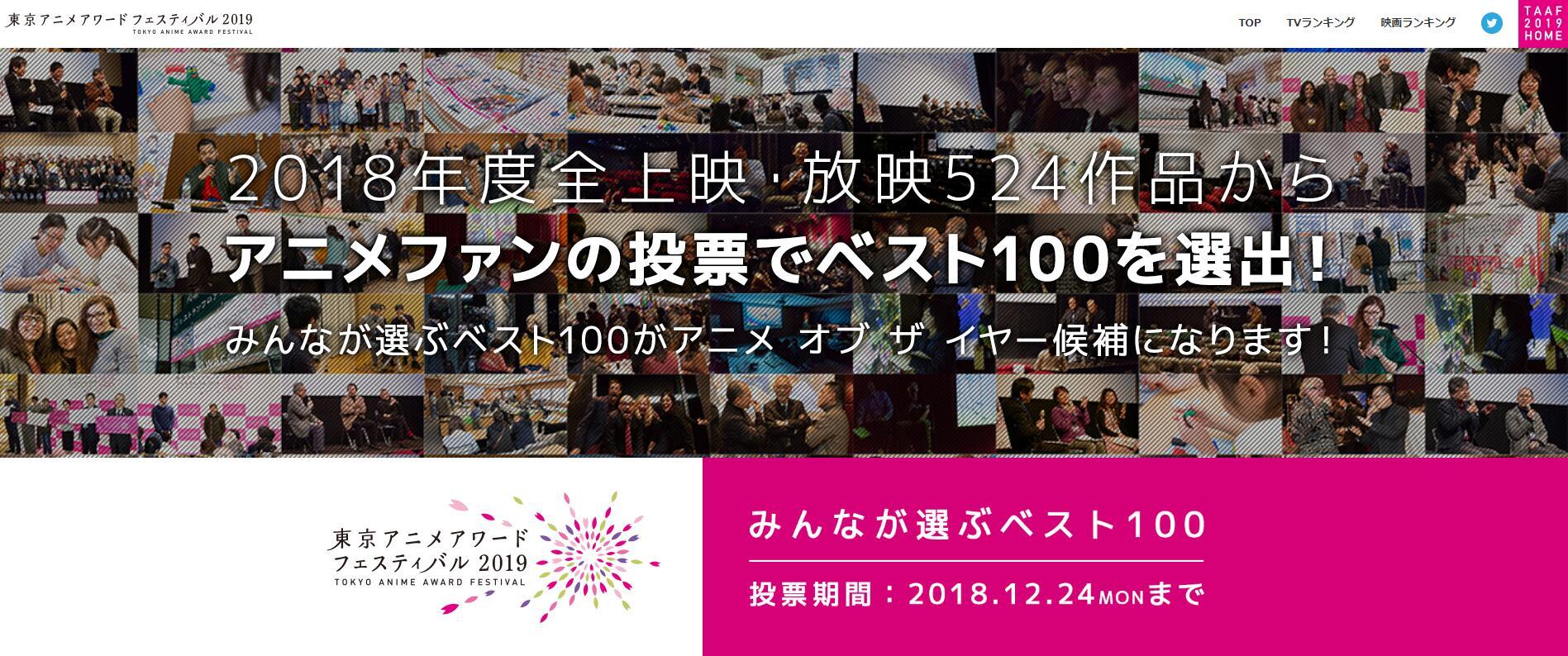 日漫风向标  2018东京动画奖初选投票结果出炉
