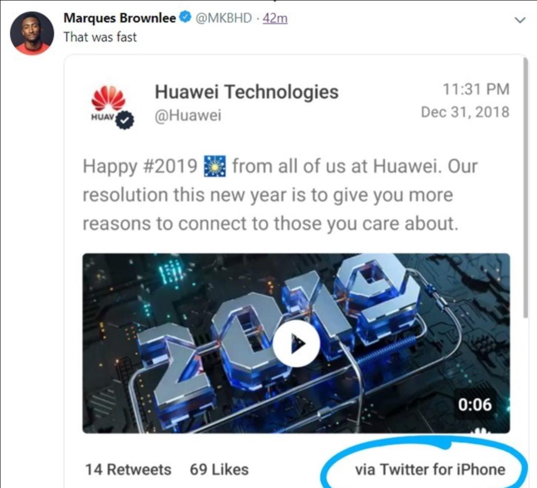 华为处罚用iPhone发推特:责任人职级降1级 月薪下调5000元