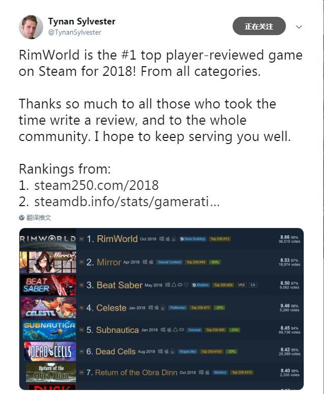 《环世界》喜得2019最受玩家好评游戏 作者推特庆贺