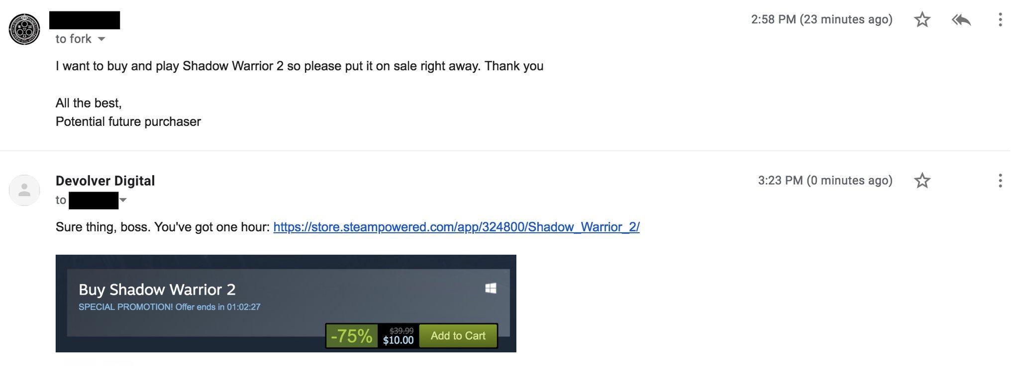 玩家恳求降价 鬼才发行商立马25折特卖《影子武士2》