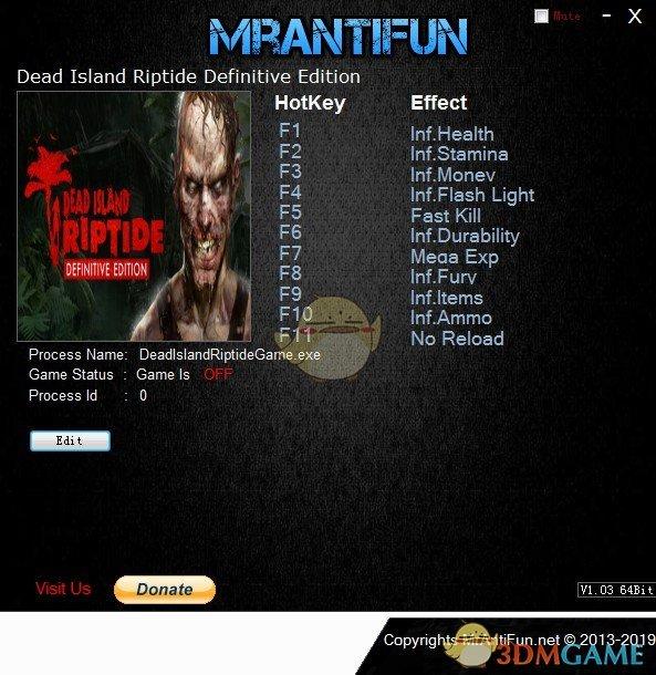 《死亡岛:激潮终极版》v1.1.2十一项修改器[MrAntiFun]