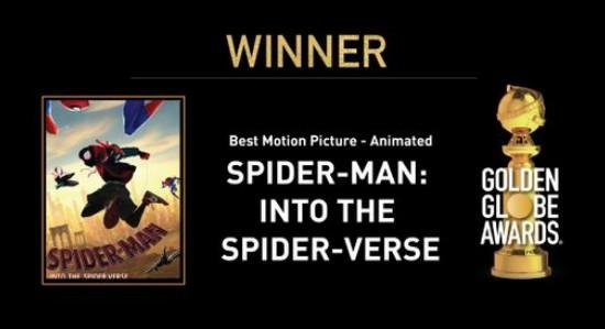 <b>《蜘蛛侠:平行宇宙》荣获第76届金球奖最佳长篇动画</b>