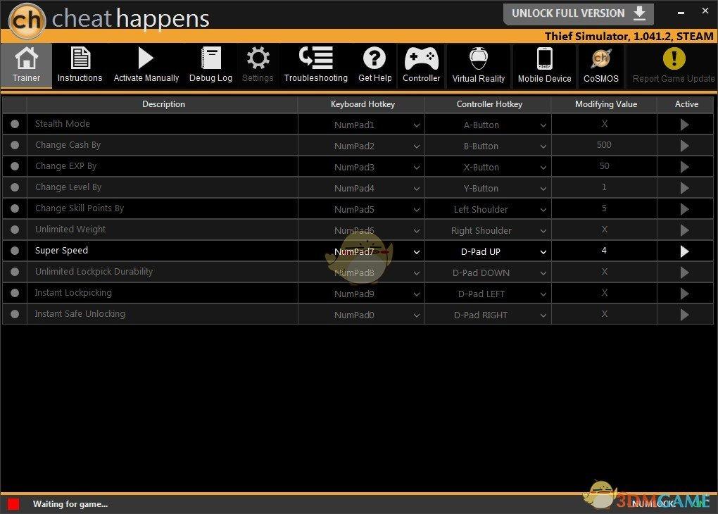《小偷模拟器》v1.041.2十项修改器[CheatHappens]