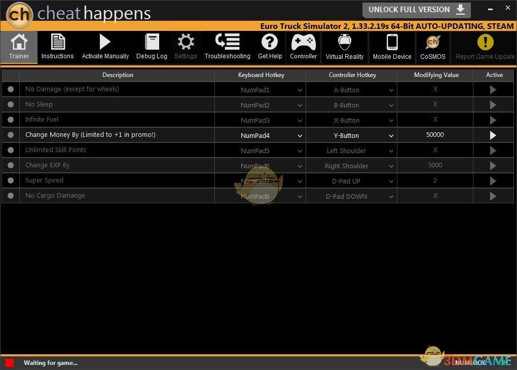 《欧洲卡车模拟2》v1.34.0.17S八项修改器[CheatHappens]