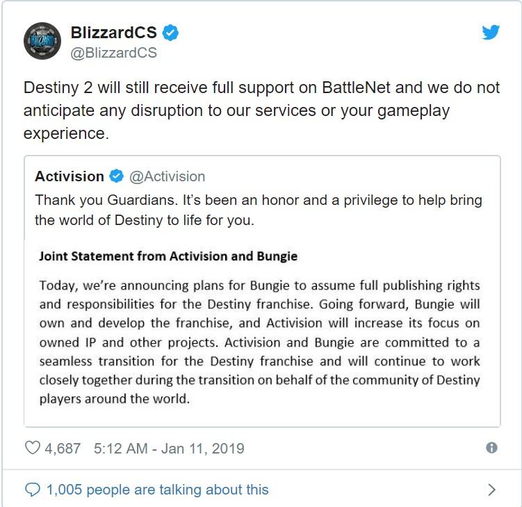 暴雪客服表态 《命运2》PC版不会从战网下架