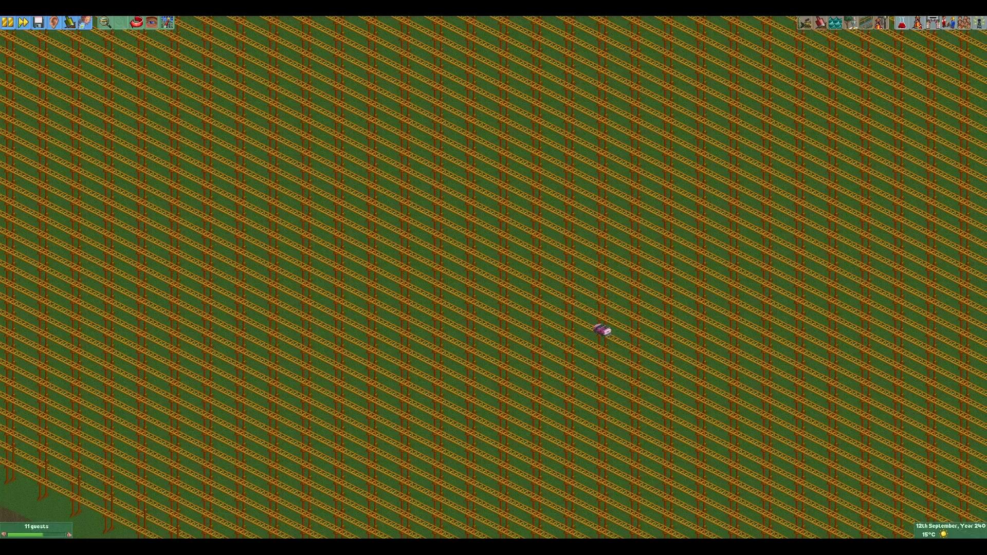 玩家在《过山车大亨2》建造超长轨道 坐完需要12年!