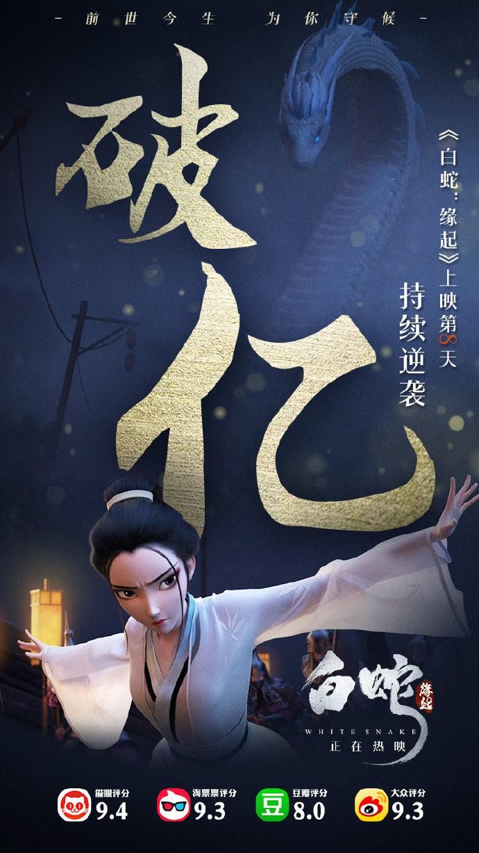 中美合拍《白蛇:缘起》票房破一亿 口碑票房双开花