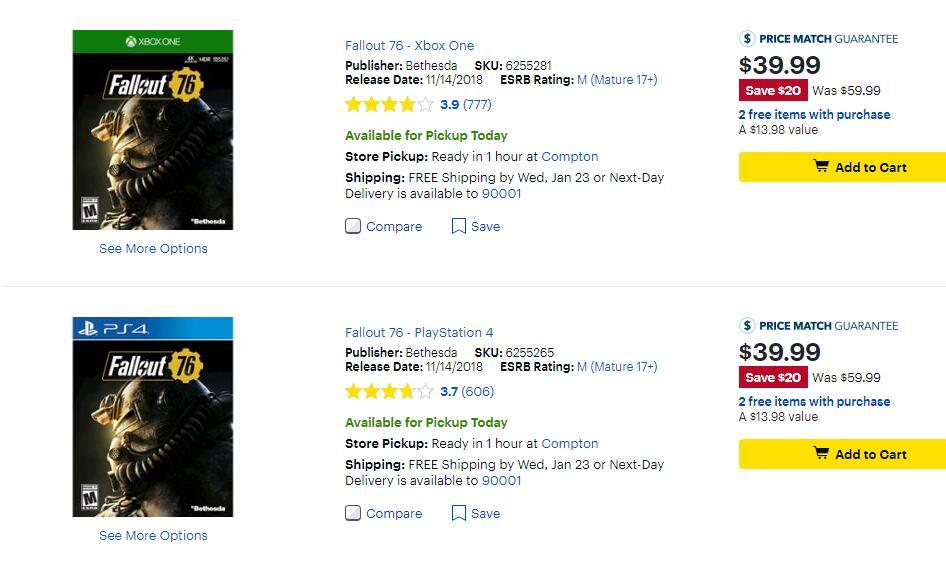 澳洲零售商下架《辐射76》实体版 游戏将免费?