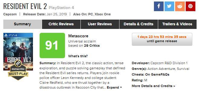 《生化危机2:重制版》媒体评分解禁 好评不断这游戏真香