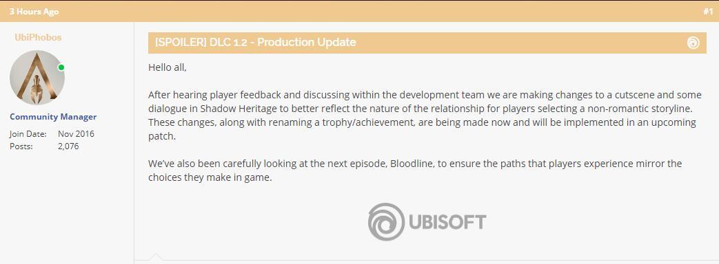 """育碧将修改《刺客信条奥德赛》DLC2结局内容并谨慎对待第三章""""血脉"""""""