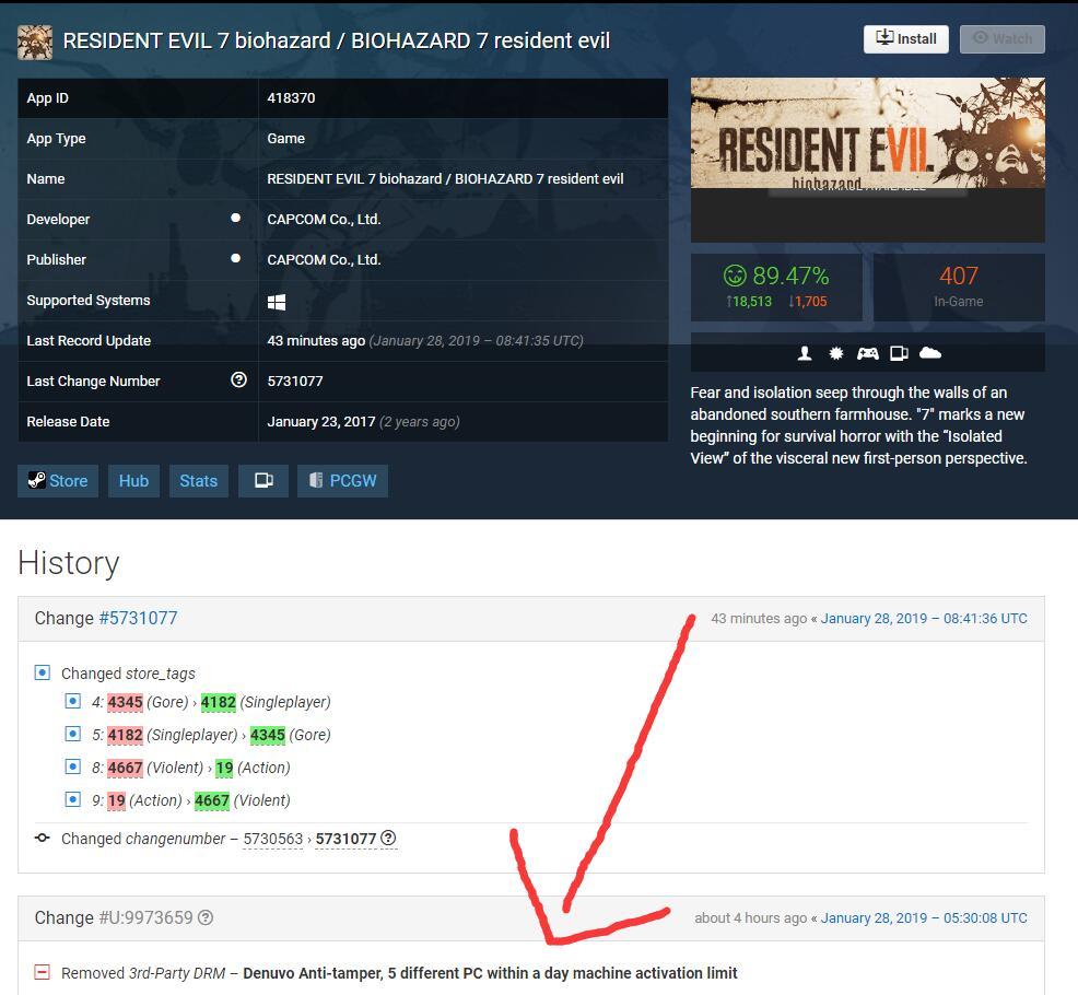 <b>Capcom官方于今日移除了《生化危机7》D加密</b>