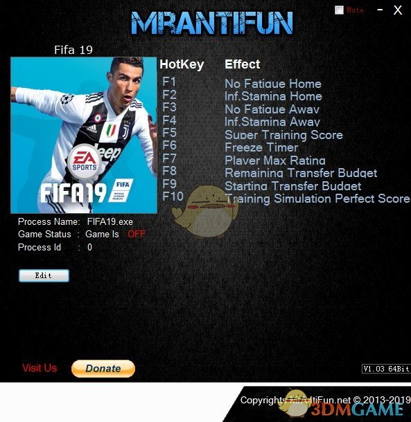 《FIFA 19》v2019.01.28十项修改器[MrAntiFun]