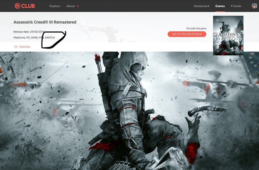 育碧官网页面已修正 《刺客信条3重制》没有Switch版