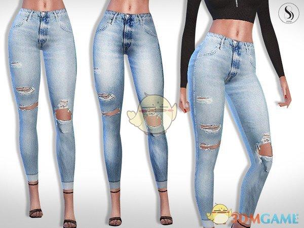 《模拟人生4》女性破洞瘦身牛仔裤MOD