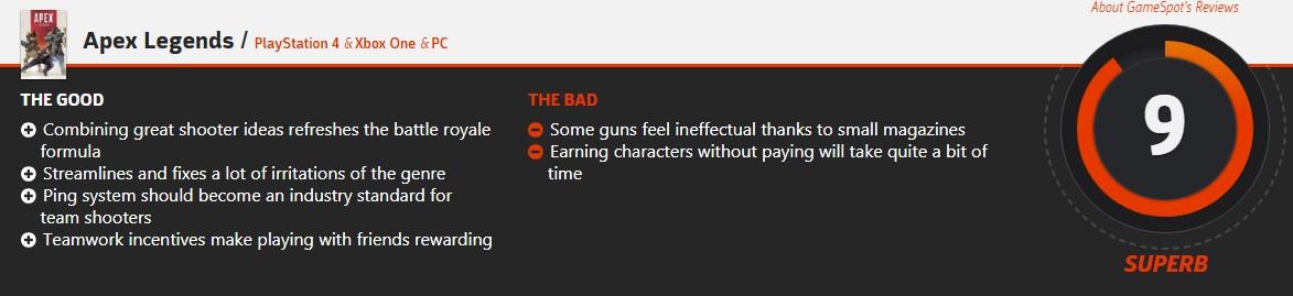 各大媒体评分走高!《Apex英雄》IGN最终评分9.0