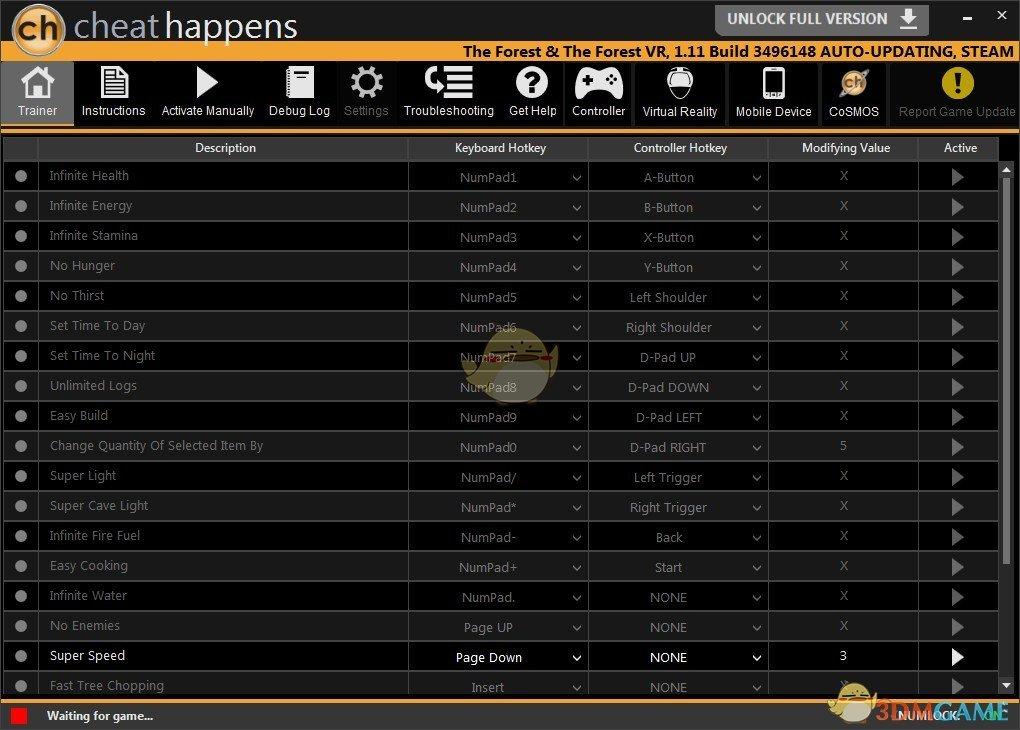 《森林》Build3496148二十二修改器[CheatHappens]