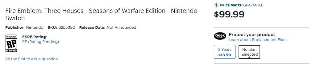 只要100刀!《火焰纹章:风花雪月》推出战争限定版