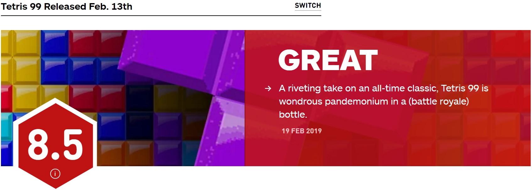 《俄罗斯方块99》IGN 8.5分 一场美妙的混战