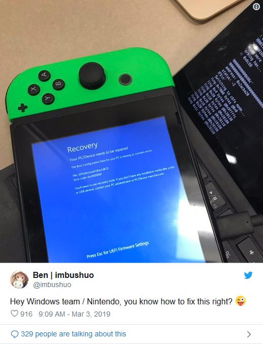 在任天堂switch上运行win10?黑客又有新动作