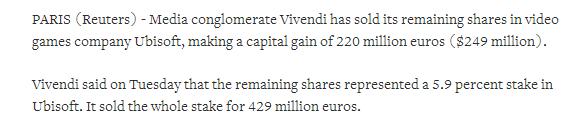 再见了维旺迪 维旺迪宣布已出售旗下剩余育碧股份