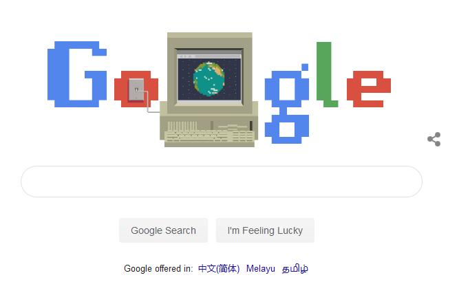 Google首页涂鸦致敬 WWW万维网发明30周年