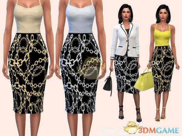 《模拟人生4》铁链图案长裙MOD