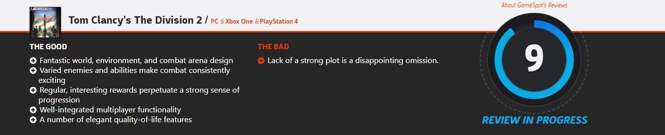 《全境封锁2》GameSpot暂时9分 剧情失望但游戏性很强