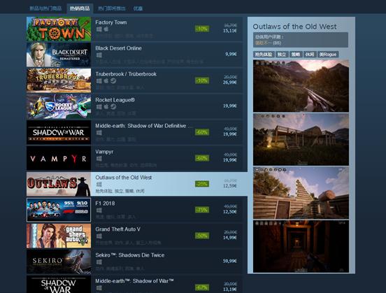 冒险沙盒游戏《西部狂徒》上线Steam十小时热销榜第七