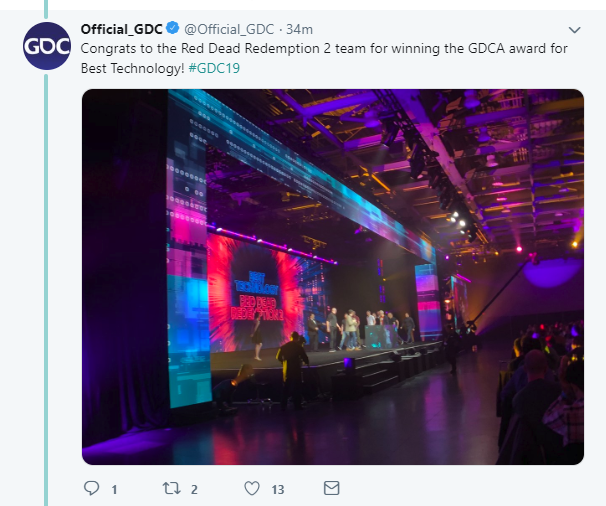 GDC 2019:《荒野大镖客2》先下一城 斩获GDC最佳技术奖