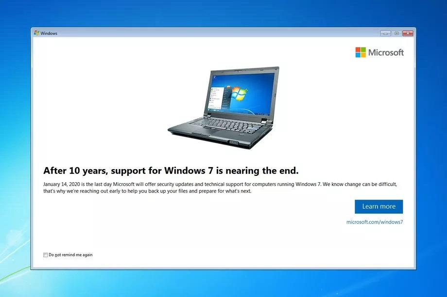"""微软为Windows 7用户弹窗:提醒大家""""Win7已死"""""""