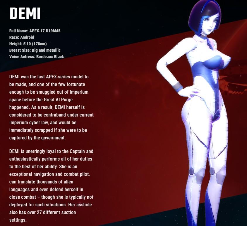 成人游戏《Subverse》情报 漂亮妹子DEMI资料公开