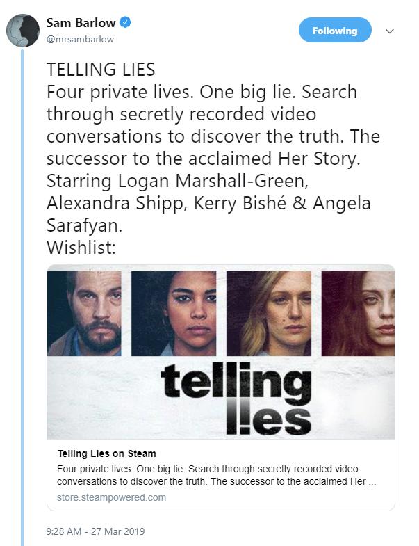 《她的故事》精神续作《Telling Lies》 预告片发布